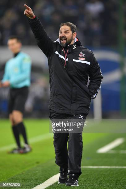Stefan Ruthenbeck coach of Koeln gestures during the Bundesliga match between Hamburger SV and 1 FC Koeln at Volksparkstadion on January 20 2018 in...