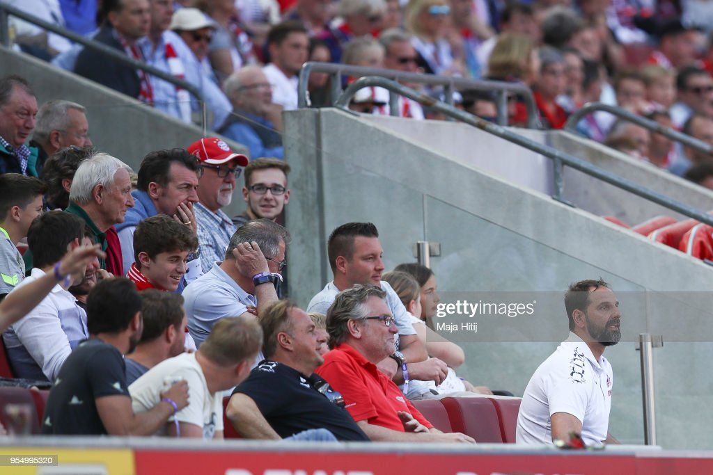 Stefan Ruthenbeck Head Coach of 1. FC Koeln sits at the tribune during the Bundesliga match between 1. FC Koeln and FC Bayern Muenchen at RheinEnergieStadion on May 5, 2018 in Cologne, Germany.