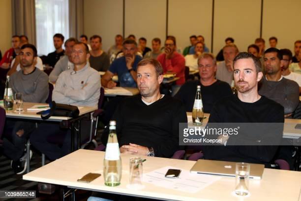 Stefan Ruthenbeck U19 head coahc of 1 FC Koeln and Ayhan Tuhmani U19 head coach of SC Paderborn during the professional education of the U19...