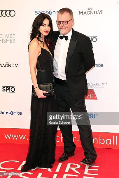 Stefan Ruzowitzky and actress Violetta Schurawlow attend the 44th German Film Ball 2017 arrival at Hotel Bayerischer Hof on January 21 2017 in Munich...