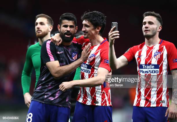 Stefan Savic and Diego Costa of Atletico Madrid celebrate during the UEFA Europa League Semi Final second leg match between Atletico Madrid and...