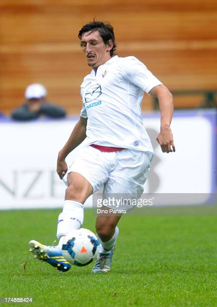 Stefan Savic of AC Fiorentina in action during the preseason friendly match between AC Fiorentina and US Cremonese on July 24 2013 in Moena near...