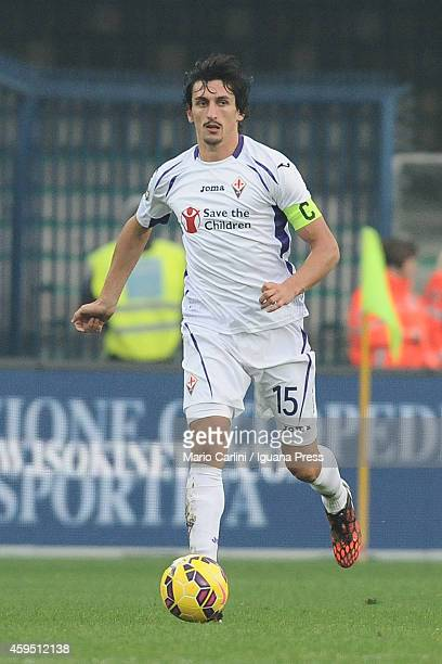 Stefan Savic of ACF Fiorentina in action during the Serie A match between Hellas Verona FC and ACF Fiorentina at Stadio Marc'Antonio Bentegodi on...