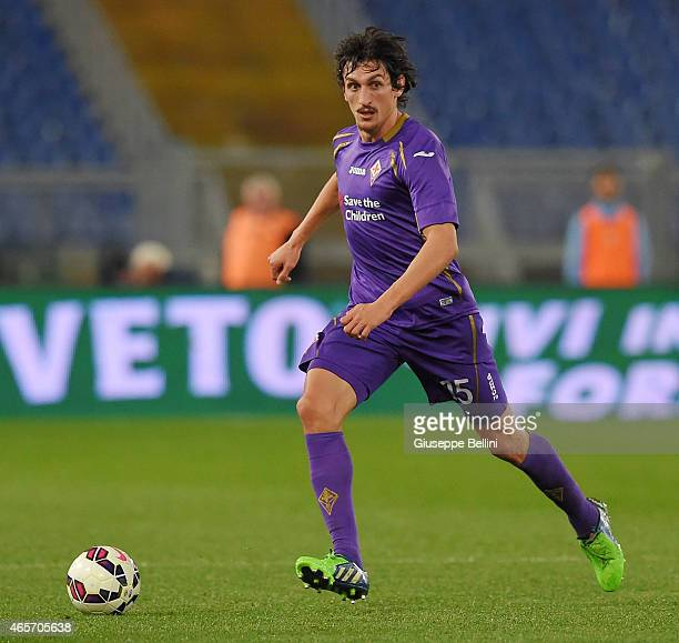 Stefan Savic of ACF Fiorentina in action during the Serie A match between SS Lazio and ACF Fiorentina at Stadio Olimpico on March 9 2015 in Rome Italy
