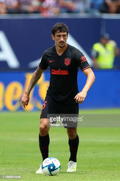 Stefan Savic of Atletico de Madrid drives the ball during the friendly match between Atletico San Luis and Atletico de Madrid at Estadio Alfonso...