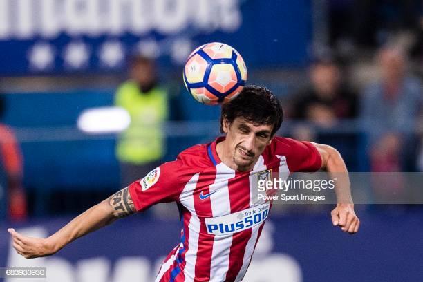 Stefan Savic of Atletico de Madrid during the La Liga match between Atletico de Madrid vs Villarreal CF at the Estadio Vicente Calderon on 25 April...