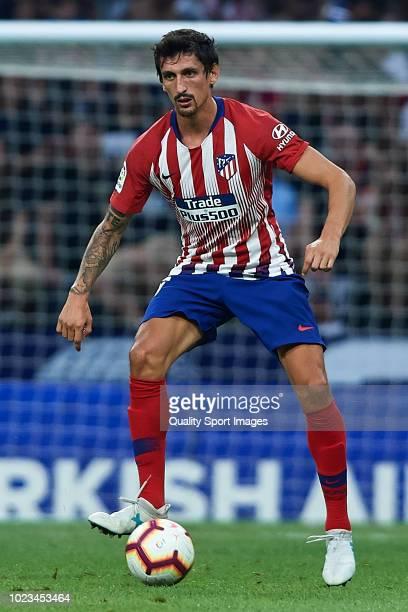 Stefan Savic of Atletico de Madrid in action during the La Liga match between Club Atletico de Madrid and Rayo Vallecano de Madrid at Wanda...