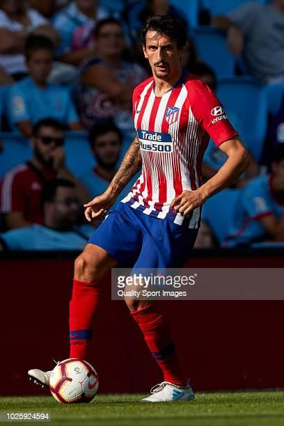 Stefan Savic of Atletico de Madrid in action during the La Liga match between RC Celta de Vigo and Club Atletico de Madrid at Abanca Balaidos Stadium...