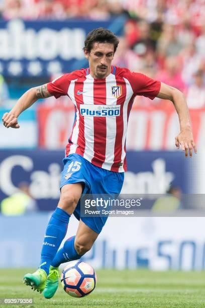 Stefan Savic of Atletico de Madrid in action during the La Liga match between Atletico de Madrid and Athletic de Bilbao at the Estadio Vicente...