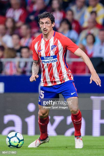 Stefan Savic of Atletico de Madrid in action during the La Liga match between Atletico Madrid and Real Betis at Wanda Metropolitano on April 22 2018...