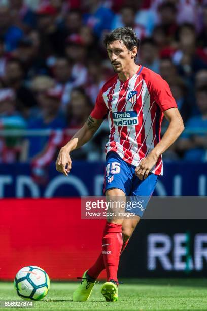 Stefan Savic of Atletico de Madrid in action during the La Liga 201718 match between Atletico de Madrid and Sevilla FC at the Wanda Metropolitano on...