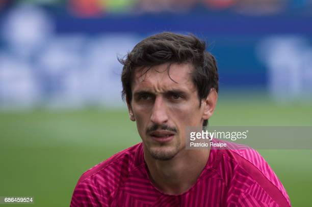 Stefan Savic of Atletico de Madrid looks on prior to the La Liga match between Club Atletico de Madrid and Athletic Club Bilbao at Vicente Calderon...