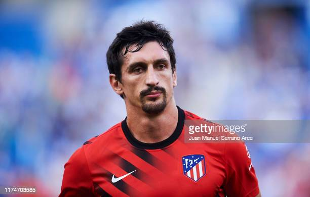 Stefan Savic of Atletico de Madrid looks on prior to the warm up during the Liga match between Real Sociedad and Club Atletico de Madrid at Estadio...