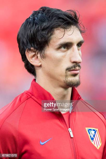 Stefan Savic of Atletico de Madrid prior to the 201617 UEFA Champions League QuarterFinals 1st leg match between Atletico de Madrid and Leicester...
