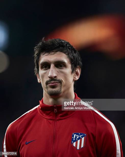 Stefan Savic of Atletico de Madrid stands with his team prior to start the UEFA Europa League quarter final leg one match between Club Atletico...