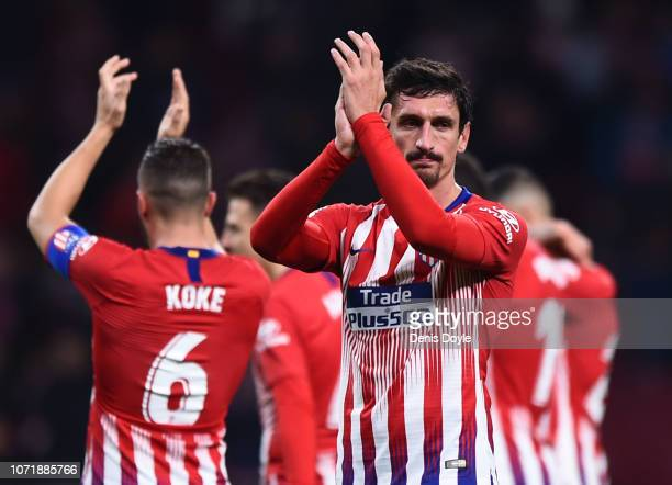 Stefan Savic of Atletico Madrid applauds the crowd after the La Liga match between Club Atletico de Madrid and FC Barcelona at Wanda Metropolitano on...