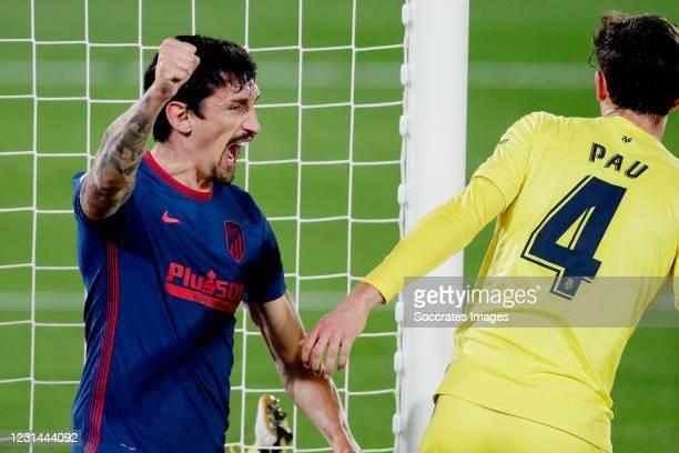 Stefan Savic of Atletico Madrid celebrates 0-1 during the La Liga Santander match between Villarreal v Atletico Madrid at the Estadio de la Ceramica...