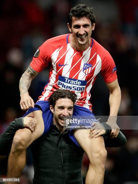 Stefan Savic of Atletico Madrid celebrates the victory during the UEFA Europa League match between Atletico Madrid v Arsenal at the Estadio Wanda...