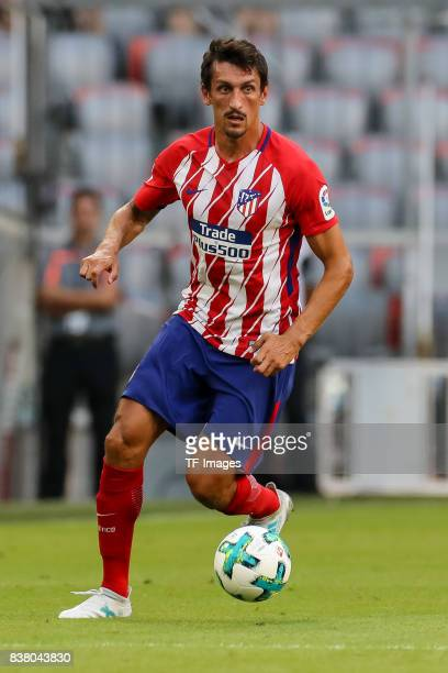 Stefan Savic of Atletico Madrid controls the ball during the first Audi Cup football match between Atletico Madrid and SSC Napoli in the stadium in...