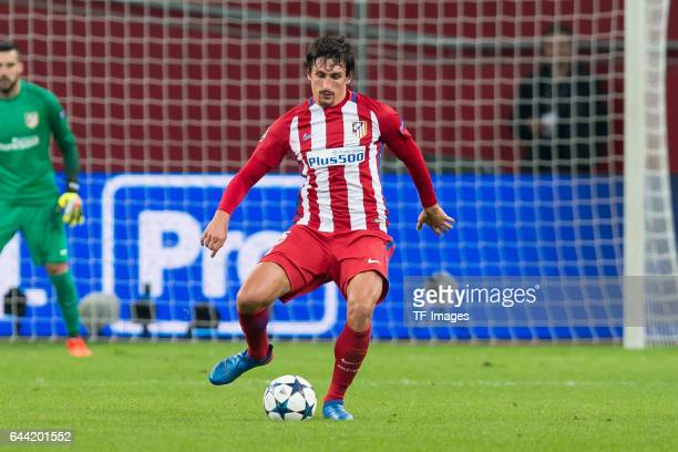 Stefan Savic of Atletico Madrid controls the ball during the UEFA Champions League Round of 16 first leg match between Bayer Leverkusen and Club...