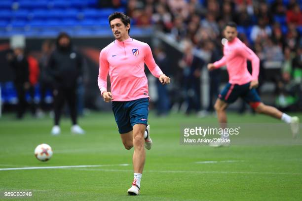 Stefan Savic of Atletico Madrid during a training session at Stade de Lyon ahead of the UEFA Europa League Final between Olympique de Marseille and...