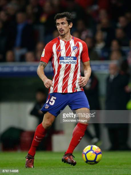 Stefan Savic of Atletico Madrid during the Spanish Primera Division match between Atletico Madrid v Real Madrid at the Estadio Wanda Metropolitano on...