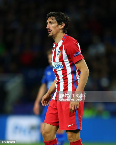 Stefan Savic of Atletico Madrid during the UEFA Champions League Quarter Final second leg match between Leicester City and Club Atletico de Madrid at...