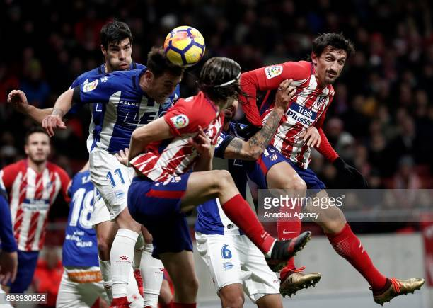 Stefan Savic of Atletico Madrid in action against Ibai Gomez of Deportivo Alaves during the La Liga match between Atletico Madrid and Deportivo...