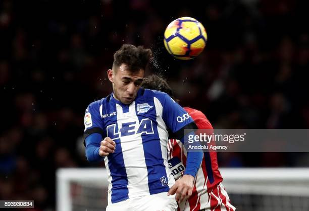 Stefan Savic of Atletico Madrid in action against Munir El Haddadi of Deportivo Alaves during the La Liga match between Atletico Madrid and Deportivo...