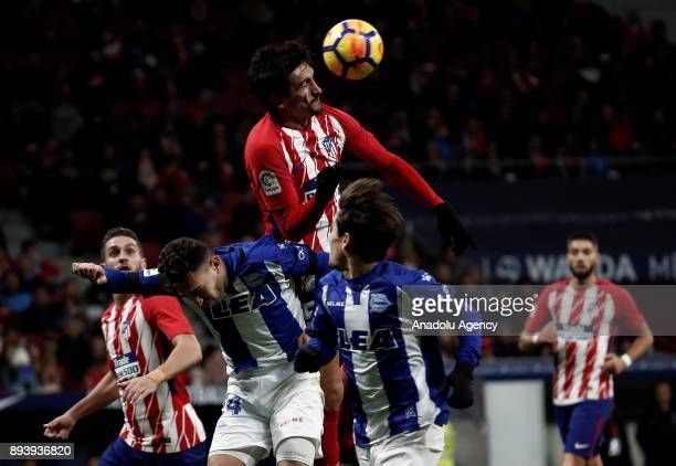 Stefan Savic of Atletico Madrid in action against Munir El Haddadi of Deportivo Alaves during a La Liga match between Atletico Madrid and Deportivo...