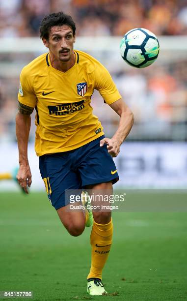Stefan Savic of Atletico Madrid in action during the La Liga match between Valencia and Atletico Madrid at on September 9 2017 in Valencia