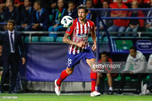 Stefan Savic of Atletico Madrid in action during the UEFA Super Cup match between Real Madrid and Atletico Madrid on August 15 2018 at Lillekula...
