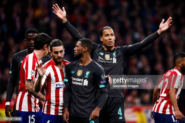 Stefan Savic of Atletico Madrid Koke of Atletico Madrid Joe Gomez of Liverpool FC Virgil van Dijk of Liverpool FC during the UEFA Champions League...