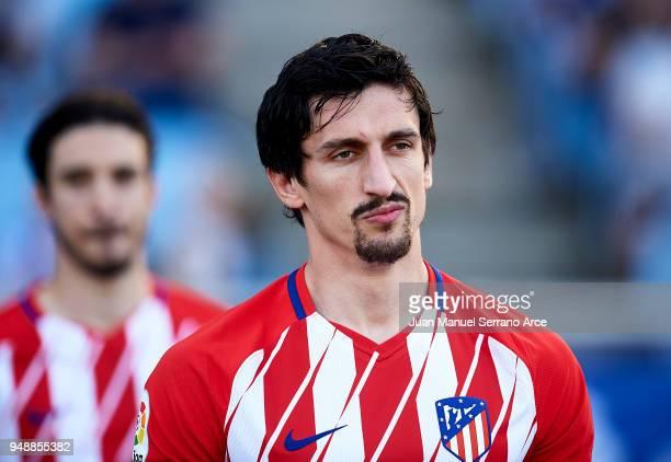 Stefan Savic of Atletico Madrid looks on prior to the start the La Liga match between Real Sociedad de Futbol and Atletico Madrid at Estadio Anoeta...