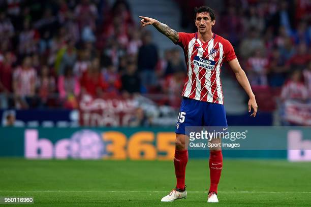 Stefan Savic of Atletico Madrid reacts during the La Liga match between Atletico Madrid and Real Betis at Wanda Metropolitano Stadium on April 22...
