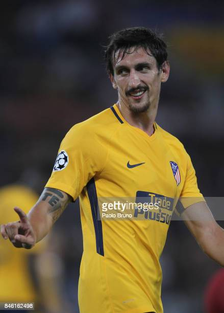 Stefan Savic of Atletico Madrid reacts during the UEFA Champions League group C match between AS Roma and Atletico Madrid at Stadio Olimpico on...