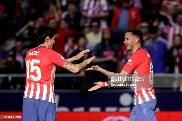 Stefan Savic of Atletico Madrid Saul Niguez of Atletico Madrid celebrate the 10 during the La Liga Santander match between Atletico Madrid v Leganes...