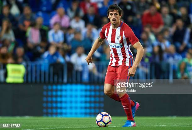 Stefan Savic of Club Atletico de Madrid in action during La Liga match between Malaga CF and Club Atletico de Madrid at La Rosaleda Stadium April 01...