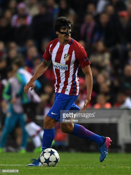 Stefan Savic of Club Atletico de Madrid in action during the UEFA Champions League Round of 16 second leg match between Club Atletico de Madrid and...