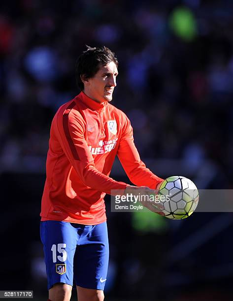 Stefan Savic of Club Atletico de Madrid warms up at halftime during the La Liga match between Club Atletico de Madrid and Rayo Vallecano at Vicente...