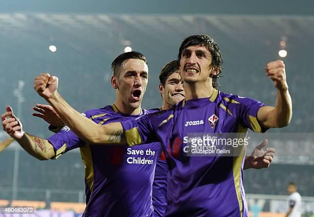 Stefan Savic of Fiorentina ceebrates after scoring the goal 02 during the Serie A match between AC Cesena and ACF Fiorentina at Dino Manuzzi Stadium...