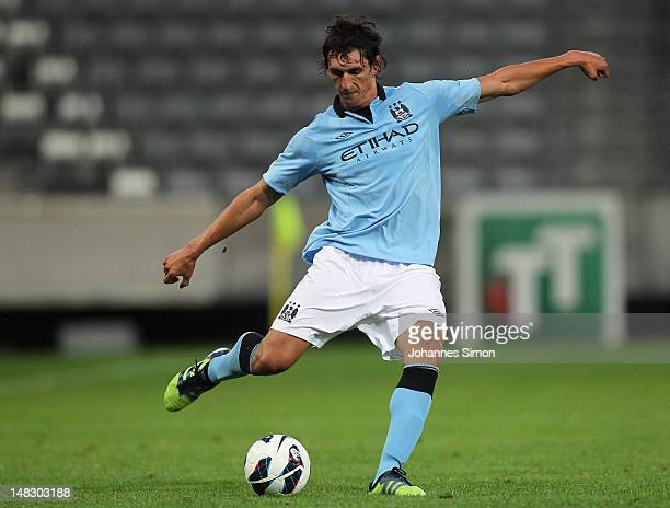 Stefan Savic of Manchester in action during a preseason friendly match between Manchester City and Al Hilal fight for the ball at Tivoli Neu on July...
