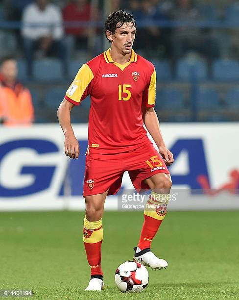 Stefan Savic of Montenegro in action during the FIFA 2018 World Cup Qualifier between Montenegro and Kazakhstan at Podgorica City Stadium on October...