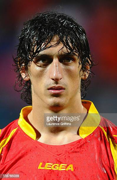Stefan Savic of Montenegro lines up during the UEFA EURO 2012 group G qualifier between Montenegro and England at the City Stadium on October 7 2011...