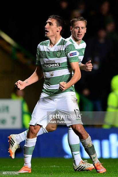 Stefan Scepovic of Celtic celebrates scoring his goal during the UEFA Europa League group D match between Celtic FC and FC Astra Giurgiu at Celtic...