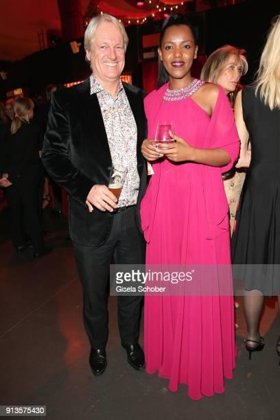 Stefan Schaffelhuber and his girlfriend Chantal Mukashyaka during Michael Kaefer's 60th birthday celebration at Postpalast on February 2 2018 in...