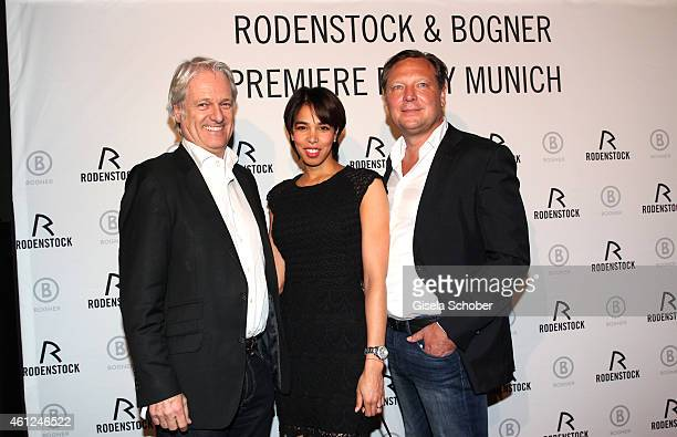 Stefan Schaffelhuber and his girlfriend Espinosa Tellez Janetsi Oliver Kastalio CEO Rodenstock during the Rodenstock Bogner premiere party at P1 on...