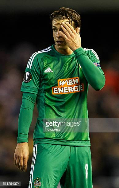 Stefan Schawb of Rapid Vienna reacts during the UEFA Europa League round of 32 first leg match between Valencia CF and Rapid Vienna at Estadi de...