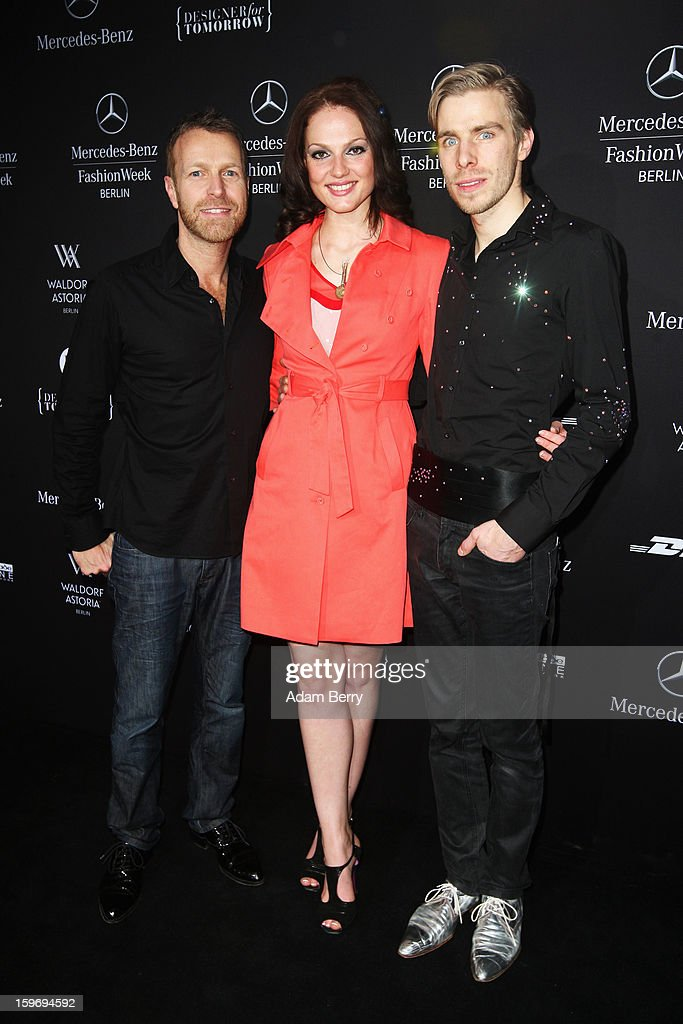 Stefan Scheuring, Isabella Vinet and Sebastian Ellrich attend Sebastian Ellrich Autumn/Winter 2013/14 fashion show during Mercedes-Benz Fashion Week Berlin at Brandenburg Gate on January 18, 2013 in Berlin, Germany.
