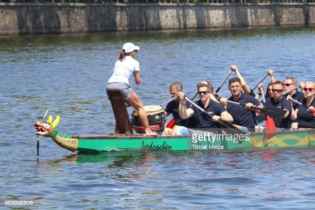 Stefan Schnoor Max Mutzke Manou Lubowski Guido Broscheit Luan Krasniqi and Andreas Brucker attend the '14 Drachenboot Cup' charity event on June 8...